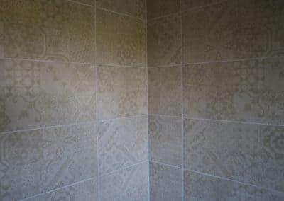 interno doccia con piastrelle decorate