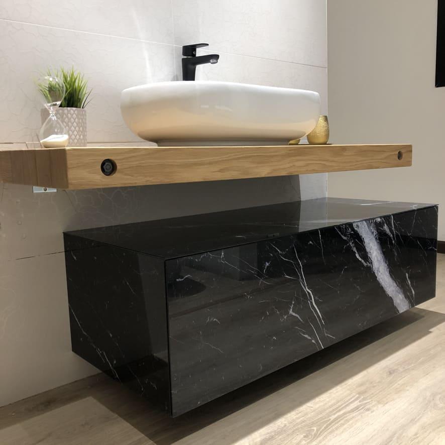 mobile bagno effetto marmo nero